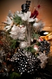 Glittered B & W contemporary tree trims – assorted ornaments start at $5.00